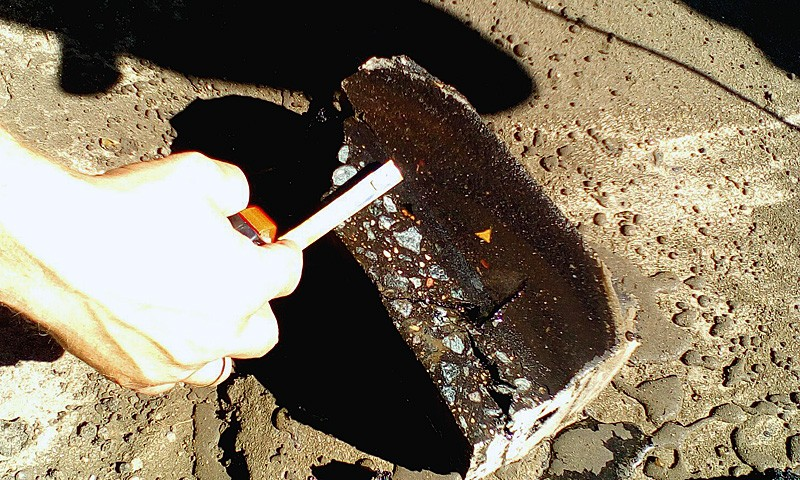 Толщина нового слоя асфальта на вырубке - 4,3 см