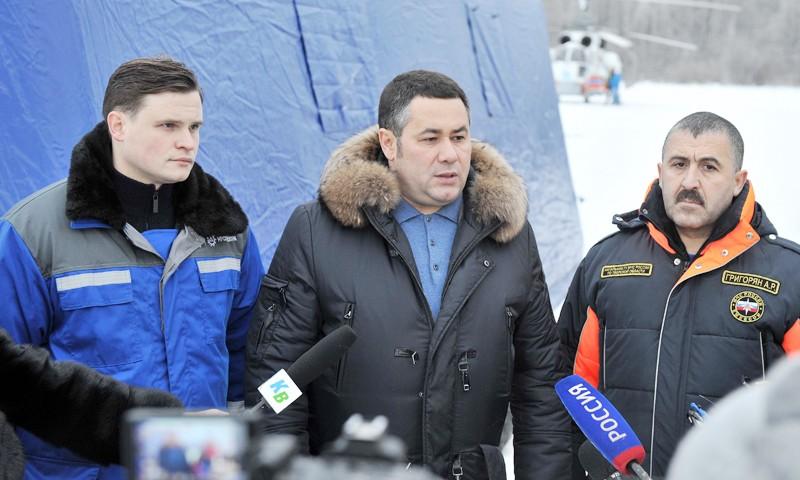 На месте восстановления линий электропередач в Конаковском районе побывал Игорь Руденя
