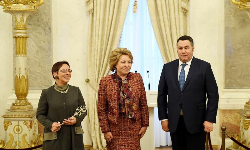 Валентина Матвиенко и Игорь Руденя приняли участие в открытии Тверского императорского дворца