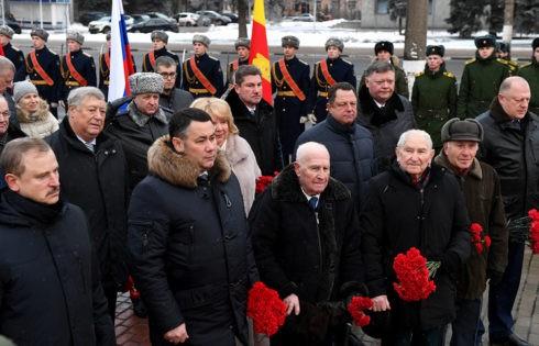 В 77-ю годовщину освобождения Калинина от немецко-фашистских захватчиков прошла церемония возложения цветов к стеле «Тверь – город воинской славы»