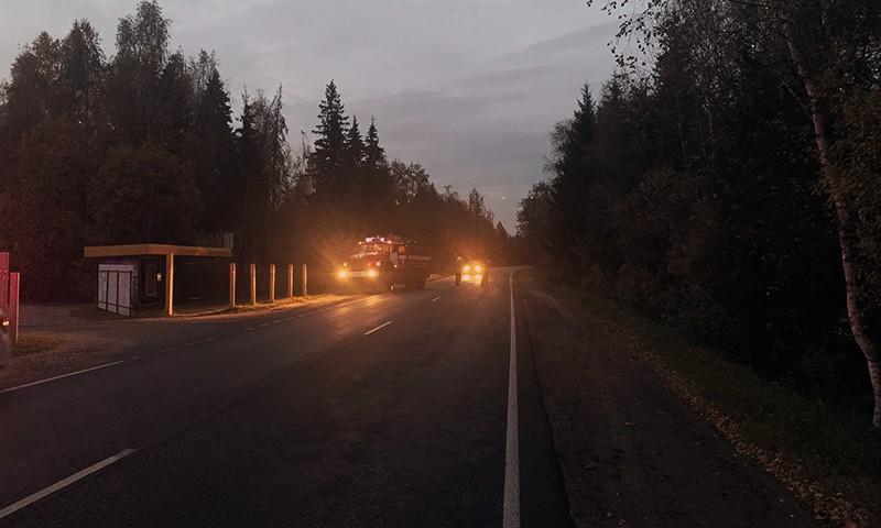 На месте происшествия 7 октября 2020 г. Кимры-Клетино-Дубна, 11-й километр трассы