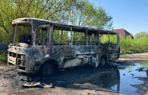 В Кимрах во время движения загорелся ПАЗик